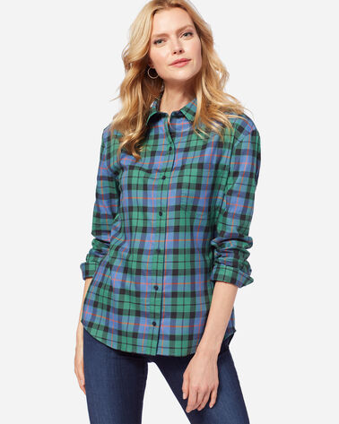 STEVIE PLEAT BACK SHIRT, GREEN MORRISON TARTAN, large