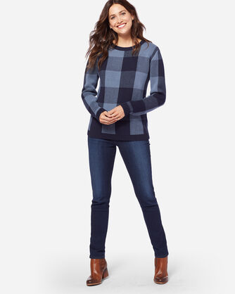 BLOCK PLAID PULLOVER, MIDNIGHT NAVY/BLUE, large