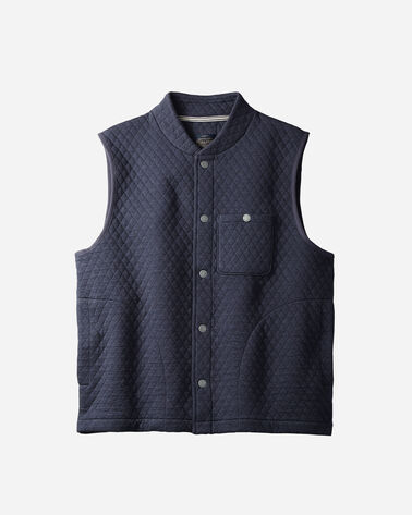 MEN'S QUILTED KNIT VEST, BLUE HEATHER, large