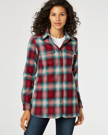 WOMEN'S BOARD SHIRT, RED/TEAL OMBRE PLAID, large