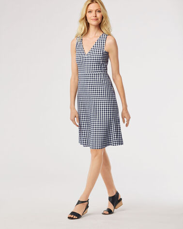GINGHAM KENNEDY DRESS, NAVY/WHITE, large