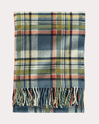 ECO-WISE WOOL THROW WITH CARRIER, SLATE SKY PLAID, large