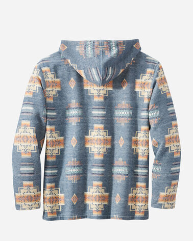 BACK VIEW OF MEN'S HOODIE POPOVER IN CHIEF JOSEPH BLUE