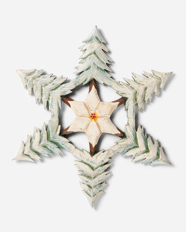 HAND CARVED SPRUCE TREE SNOWFLAKE IN EVERGREEN