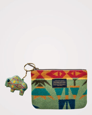 ECHO PEAKS ZIP POUCH WITH KEY CHAIN, SAGE, large