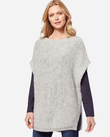LUXE PONCHO, LIGHT GREY TONAL, large