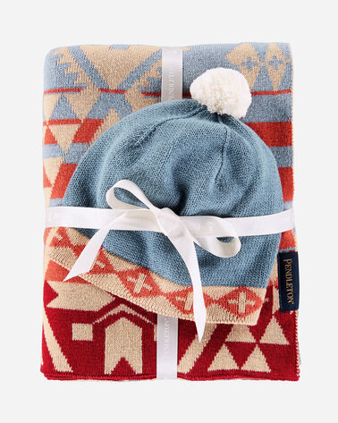 KNIT BABY BLANKET WITH BEANIE, DESERT SKY, large