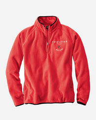 HALF ZIP FLEECE JACKET, RED, large