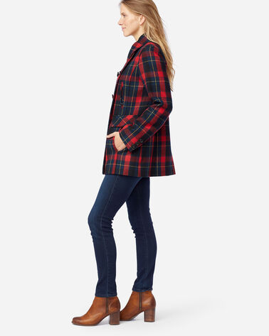ALTERNATE VIEW OF WOMEN'S PLAID WOOL PEA COAT IN RED/BLACK PLAID