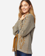 WOMEN'S KIMONO SLEEVE CARDIGAN IN BOTTLE GREEN/GOLD