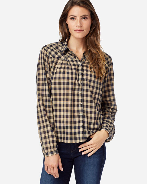 WOMEN' S AIRY COTTON SHIRT IN NAVY/TAN CHECK