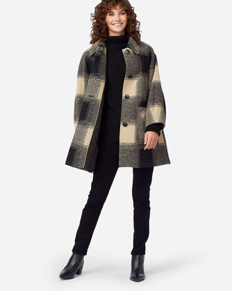 ALTERNATE VIEW OF WOMEN'S SHORT HILLS CHECK COAT IN OATMEAL/BLACK  PLAID