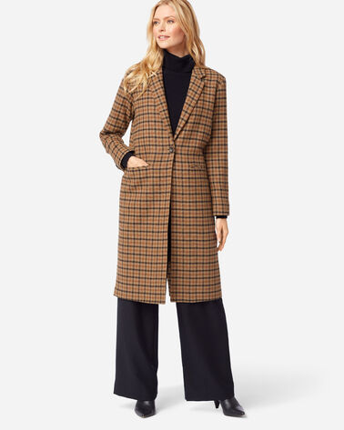 ADDITIONAL VIEW OF WOMEN'S HUDSON LONG COAT IN TAN CHECK