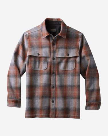 MEN'S PLAID ECO-WISE WOOL SHIRT JACKET, GREY MIX/COPPER OMBRE, large