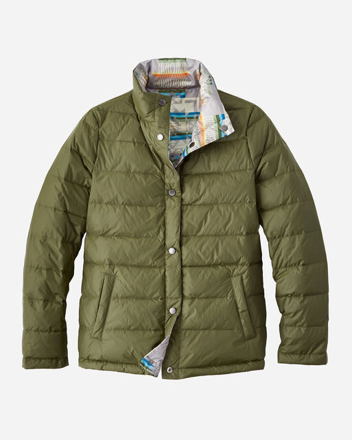 WOMEN'S PACKABLE DOWN REVERSIBLE JACKET IN GREY CHIEF JOSEPH/OLIVE