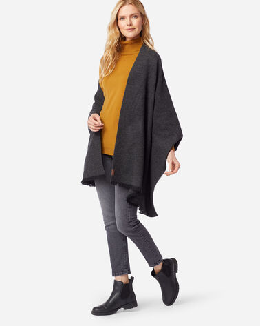 EXTRAFINE MERINO OVERSIZED WOOL WRAP IN CHARCOAL