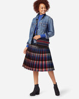 REVERSIBLE SKIRT IN BLUE PLAID/RED PLAID