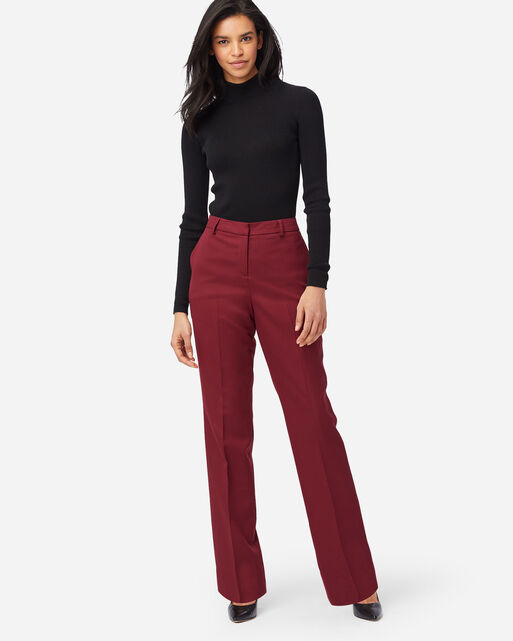 SEASONLESS WOOL LINED STRAIGHT LEG PANTS IN CABERNET