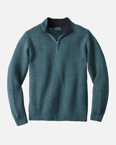 SHETLAND QUARTER-ZIP PULLOVER, TEAL HEATHER, large