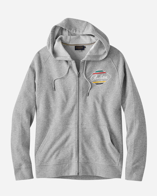 MEN'S GLACIER FULL ZIP HOODIE IN GREY HEATHER