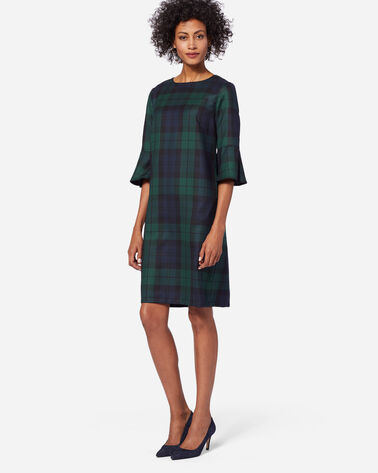 ADDITIONAL VIEW OF MAYA WOOL DRESS IN BLACK WATCH TARTAN