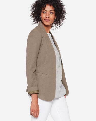 COLLARLESS ONE BUTTON BLAZER, SOFT OLIVE, large