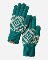 JACQUARD TEXTING GLOVES IN JOURNEY WEST TURQUOISE