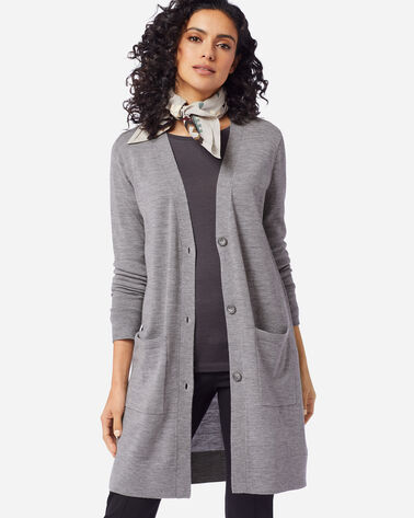 ADDITIONAL VIEW OF WOMEN'S TIMELESS MERINO LONG CARDIGAN IN SOFT GREY HEATHER