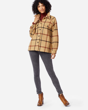 ALTERNATE VIEW OF WOMEN'S DAPHNE WOOL JACKET IN TAN WINDOWPANE PLAID