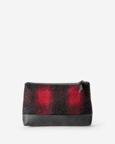 ADDITIONAL VIEW OF BUFFALO CHECK ZIP POUCH IN RED/BLACK OMBRE