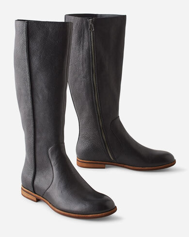 KORK EASE TANANA TALL LEATHER BOOTS IN BLACK