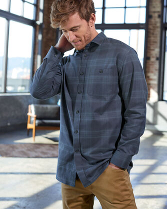 ADDITIONAL VIEW OF MEN'S JASPE PLAID SHIRT IN NAVY/TEAL PLAID