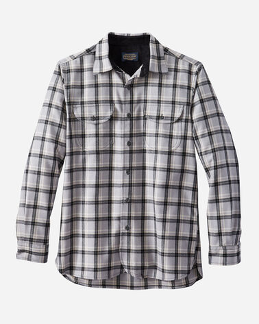 FITTED BUCKLEY AIRLOOM MERINO SHIRT IN GREY/BLACK PLAID