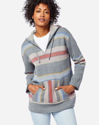 WOMEN'S STRIPED HOODIE COTTON SWEATER IN SOFT GREY HEATHER