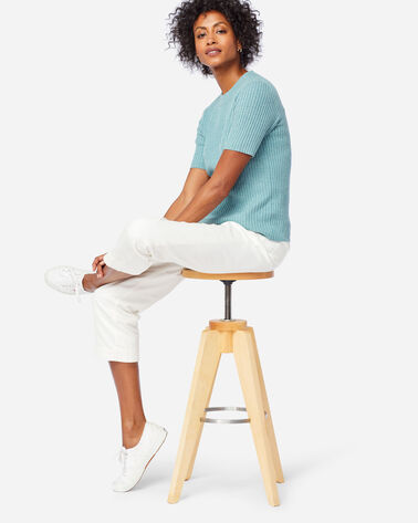 WOMEN'S SHORT-SLEEVE MERINO RIB PULLOVER IN DUSTY AQUA HEATHER