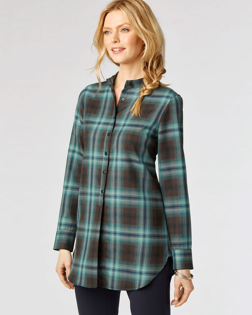 WHITNEY TUNIC, AQUA/BROWN OMBRE PLAID, large