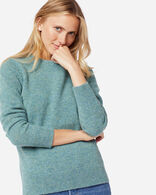 WOMEN'S SHETLAND WASHABLE WOOL CREWNECK IN SKY TEAL