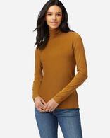 LONG-SLEEVE TURTLENECK JERSEY TEE IN PEANUT