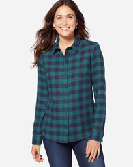 AUDREY FITTED FLANNEL SHIRT, BLUE/GREEN BUFFALO, large