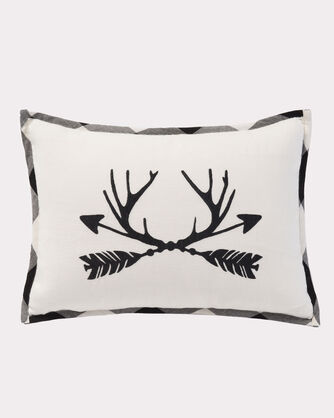 ANTLERS AND ARROWS BOUDOIR PILLOW, WHITE/BLACK, large