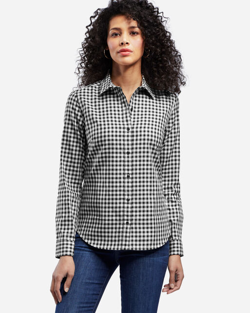 AUDREY FITTED SHIRT IN BLACK/SANDSHELL CHECK