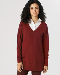 MERINO V-NECK PULLOVER, COPPER, large