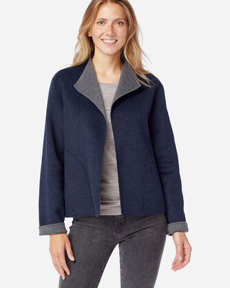 ALTERNATE VIEW OF WOMEN'S DOUBLE FACE SHORT JACKET IN NAVY/GREY HEATHER