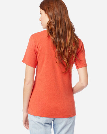 ALTERNATE VIEW OF WOMEN'S SHORT-SLEEVE COTTON RIBBED TEE IN CHILI HEATHER