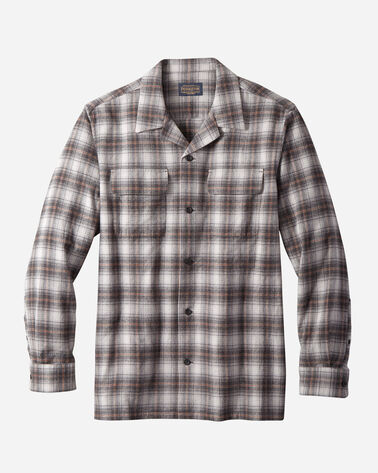 MEN'S FITTED COTTON BOARD SHIRT IN BLACK/GREY/COPPER PLAID