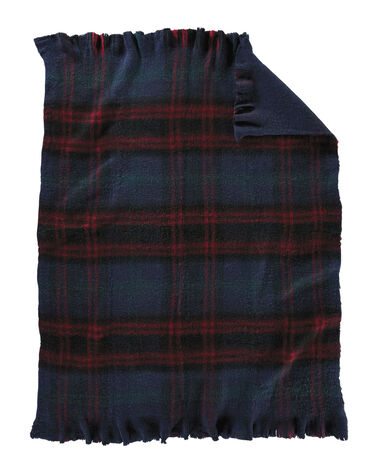 HUME TARTAN BRUSHED FRINGED THROW, NAVY TARTAN, large