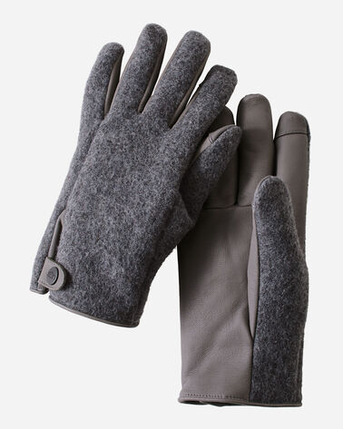 MEN'S UGG SNAP TAB TECH GLOVES, CHARCOAL, large