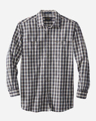 FITTED KAY STREET PLAID SHIRT, NAVY/CREAM, large