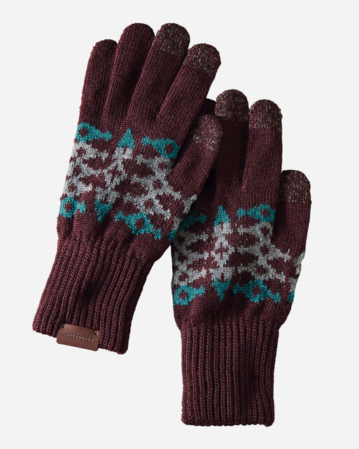 JACQUARD TEXTING GLOVES IN REDTOP RUST