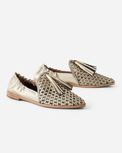 TRANCE METALLIC TASSEL FLATS, GOLD, large
